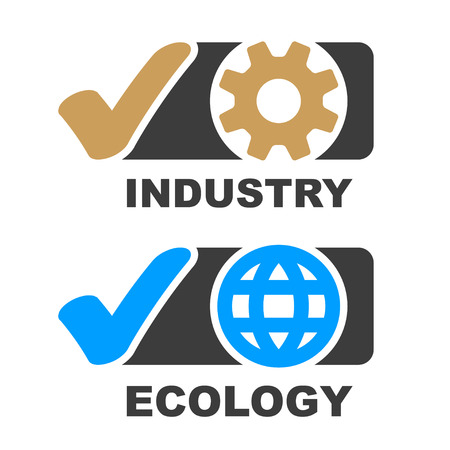 check mark industry ecology symbol vector - illustration