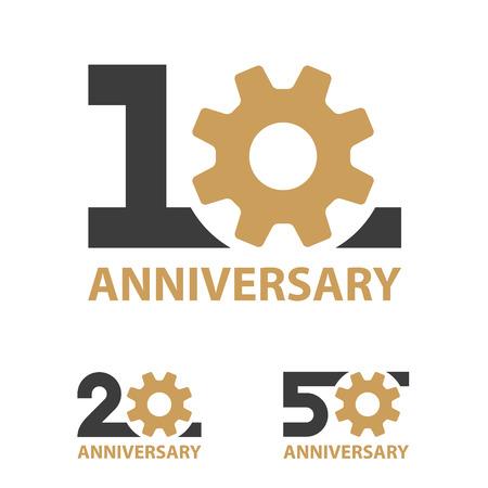 Anniversary icon illustration with  industry gear  design Ilustração