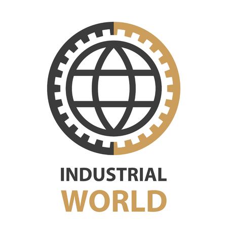 industrial gear world simple symbol vector - illustration