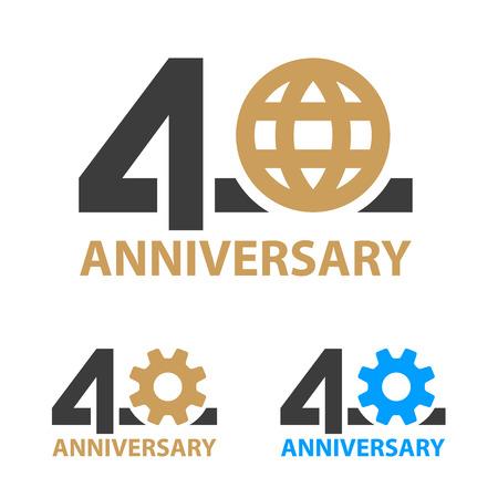 40 years anniversary industry gear globe number - illustration Ilustração