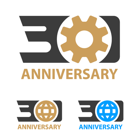 30 years anniversary industry gear globe number - illustration