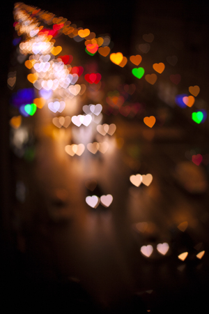 Blurred Defocused Multi Color Lights in the Shape of Heart