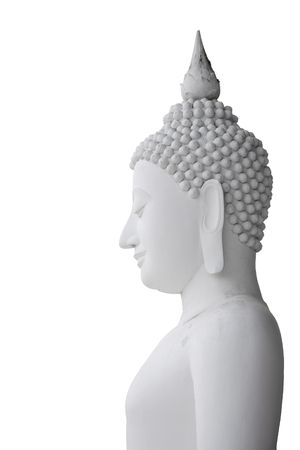 Side view of white Buddha statue with isolated background
