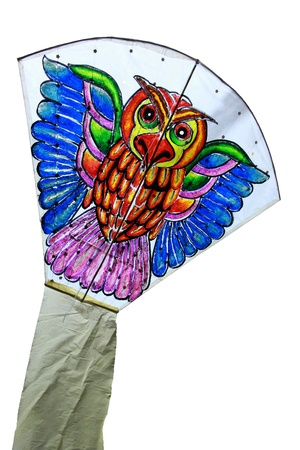 Thai Kite owl drawing isolated on white