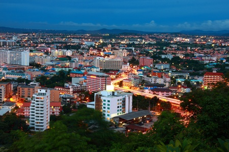 bird eye view of Pattaya city Thailand at night time