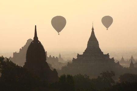 silhouette Pagoda, Stupas, Payas with balloon ,Bagan, Myanmar Stock Photo