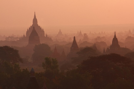 Pagoda Stupas and Payas at Bagan, Myanmar Stock Photo