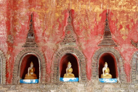 buddha image, Shwe Yan Phe temple, Myanmar Stock Photo
