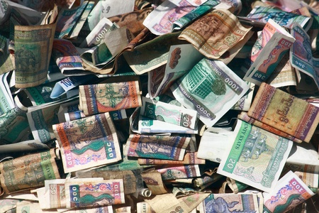 Heap of myanmar money, paper currency, bank Stock Photo