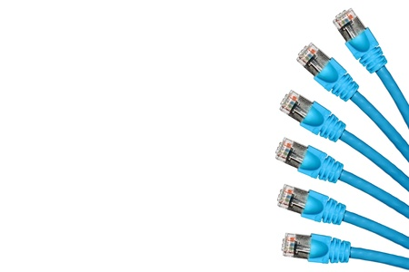 multi blue lan cable show on the right frame isolated on white background photo