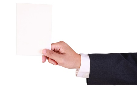 business man hold blank paper isolated on white background Stock Photo