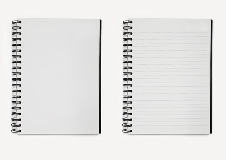 two notebooks paper spiral, line and without line  Stock Photo - 13148905