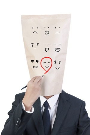 Businessman cover head choose emotion on his face photo