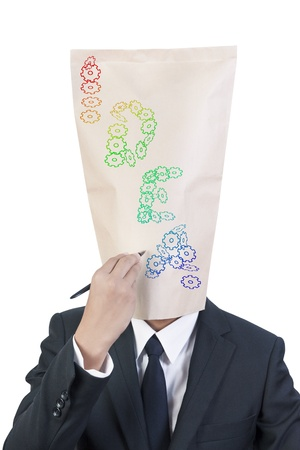 Businessman cover head drawing his face photo