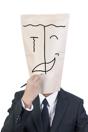 Businessman cover head drawing his face about complex emotion photo