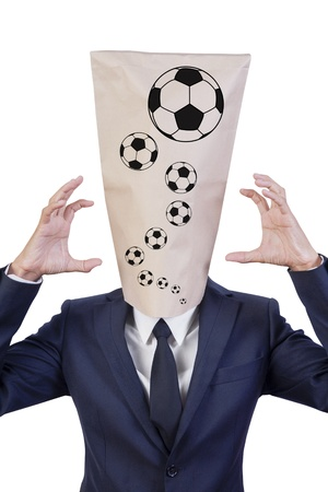 Businessman cover head crazy football Stock Photo - 14092868