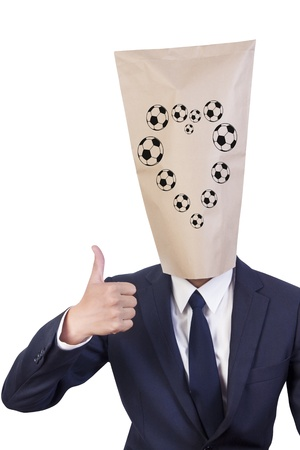 thumbnail: Businessman cover head show his thumbnail and have football heart shape on his face