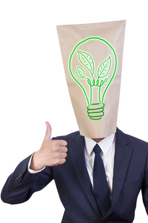 thumbnail: Businessman cover head show his thumbnail and have sign of green energy on his face Stock Photo