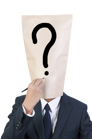 Businessman cover head question mark on his face photo