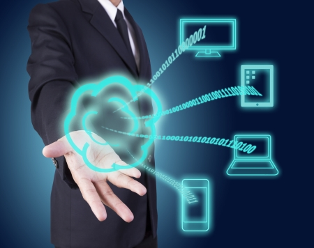 cloud computing on a businessman hand