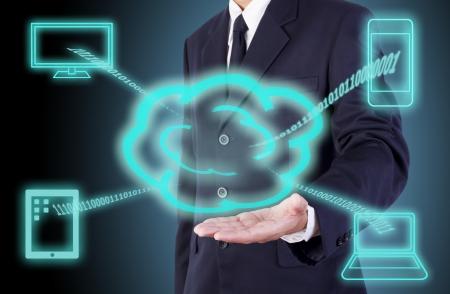 cloud computing on a businessman hand Stock Photo - 14093003