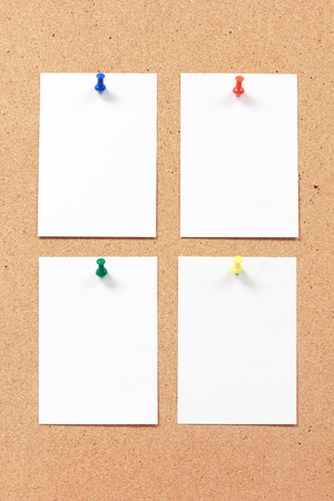 paper note on bulletin board, cork board Stock Photo