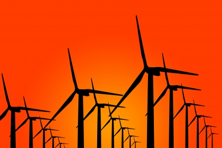 wind turbine generator group spread all frame in a row photo