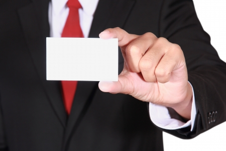 businessman showing blank business card on white background photo