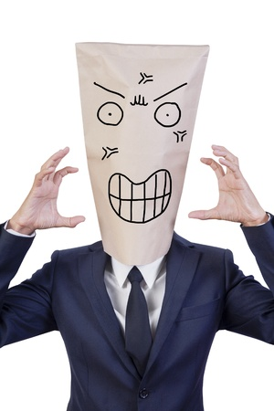 businessman cover head with bag that show his emotion angry photo