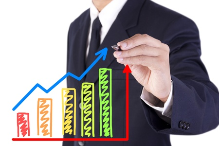 businessman drawing colorful graph grow with arrow sign