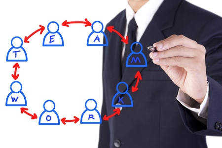 businessman drawing teamwork circle Stock Photo - 15446234