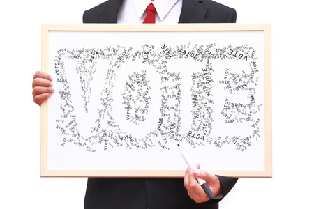 businessman invite people for voting with small vote word surround space that can read VOTE Stock Photo - 16840653