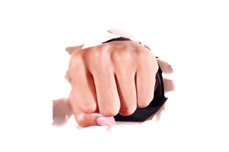 Human Fist through white background photo