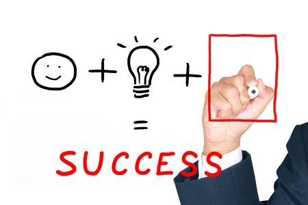 necessary: Businessman drawing necessary thing from empty frame to combine with man and idea for success Stock Photo