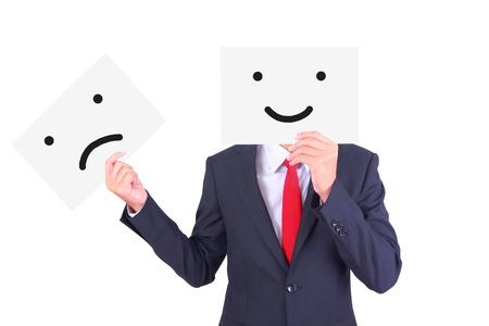 swap: Businessman swap paper to change his emotion