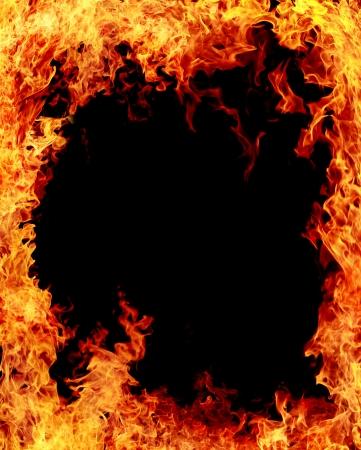 fire surround: Fire burn on black background