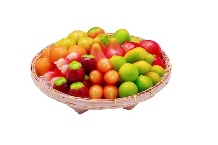 Look Choup is thai sweet, deletable imitation fruits, isolated on white with clipping path.