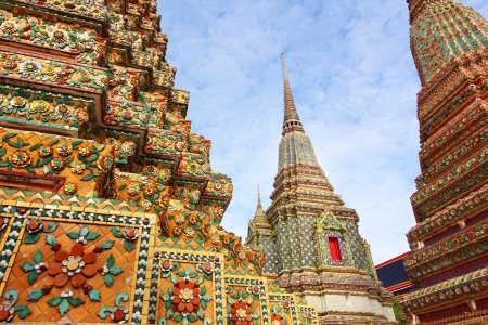 Wat Pho, Bangkok, Thailand. Wat means temple in Thai. The temple is one of Bangkoks most famous tourist sites. photo