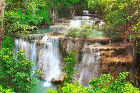 background waterfalls: Huay mae kamin waterfall in Kanchanaburi, Thailand