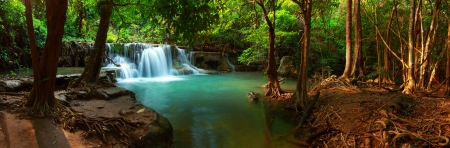 Huay mae kamin waterfall in Kanchanaburi, Thailand, Panorama Stock Photo - 21028686