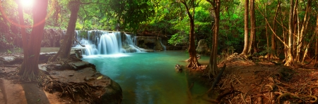background waterfalls: Huay mae kamin waterfall in Kanchanaburi, Thailand, Panorama
