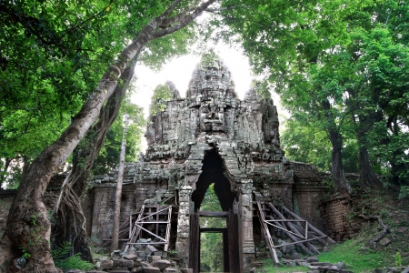 Angkor Thom is famous place in Siem reap, Cambodia photo