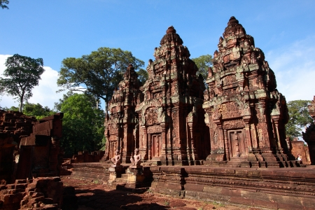 There are a lot of bas-relief on the wall of building at Banteay srei photo