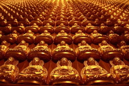 Group of gold chinise buddha image photo