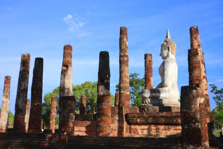 Buddha image sit at Sa Sri temple, Sukhothai Historical Park, Sukhothai, Thailand photo