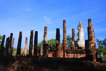 Buddha image sit at Sa Sri temple, Sukhothai Historical Park, Sukhothai, Thailand photo