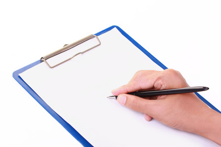 filling out: writing form empty form isolated on white background