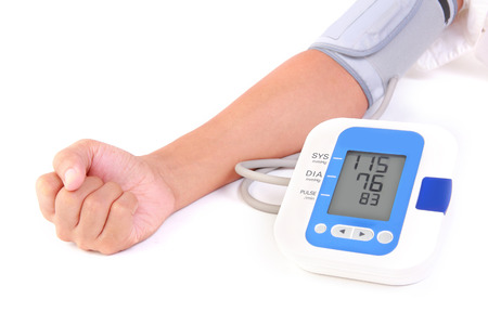blood pressure monitor: person is using sphygmomanometer for check his health