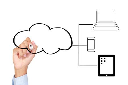 Businessman drawing a Cloud Computing concept photo