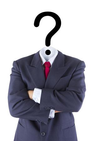 geïsoleerd onzichtbare zakenman vraagteken hoofd hersenen verwarring wit begrip